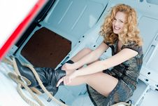 Free Pretty Young Woman In Cargo Van Royalty Free Stock Image - 19457396