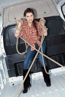 Free Sexy Young Woman In Cargo Van Stock Photo - 19457590
