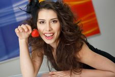 Free Young Woman With Red Strawberry Royalty Free Stock Photography - 19457717