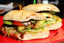Free Sandwiches On A Red Plate Royalty Free Stock Photography - 19458107