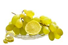 Free Grapes And Lemon  On The White Isolated Background Royalty Free Stock Image - 19459316