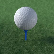 Golf Ball Teed Up Ready To Play Stock Photo