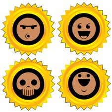 Free Smiley Award Icon Set Royalty Free Stock Images - 19460319