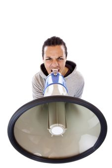 Young African Man Shouting Loudly In Megaphone Royalty Free Stock Photos