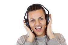 Free Happy Man With Headphones Listens To Mp3 Music Royalty Free Stock Photography - 19460777