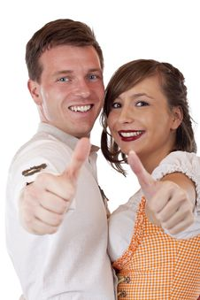 Free Happy Bavarian Man And Woman Holding Thumbs Up Stock Photos - 19460783