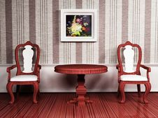 Free Classic Interior Design With Two Chairs Stock Photography - 19461862