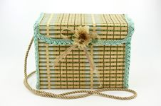 A Square Child Bag Made Of Straw Royalty Free Stock Images