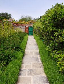 Free Path And Doorway In An English Walled Garden Royalty Free Stock Image - 19462146