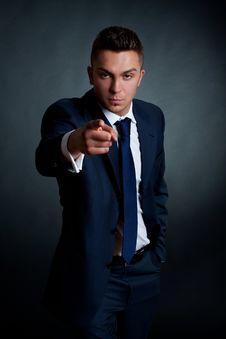 Fashion Businessman Pointing Stock Photos