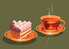 Free Tea And  Cake. Royalty Free Stock Photos - 19463238
