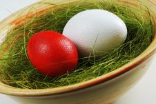 Free Two Eggs  In A Plate With Green Grass Stock Photo - 19463900