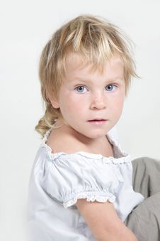Free Cute Toddler Girl Over White Stock Photography - 19464082