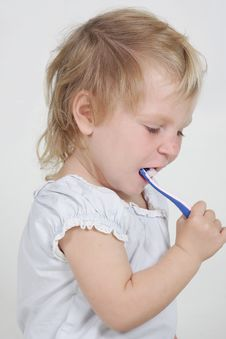 Free Child With Toothbrush Over White Royalty Free Stock Photos - 19464168