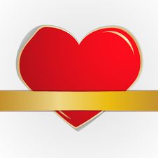 The Red Heart Which Gold Tape. Eps10 Stock Image