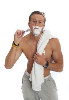 Free Young Male Shaving Isolated Royalty Free Stock Images - 19465919
