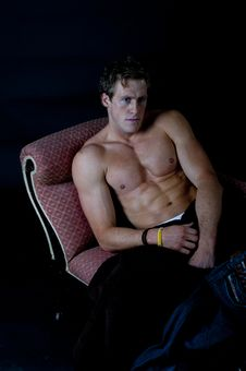 Free Sexy Young Male Against Black Stock Images - 19466104