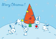 Christmas Card With Hares And A Fur-tree Stock Image