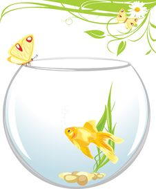 Goldfish And Butterfly Sitting On An Aquarium Stock Photo