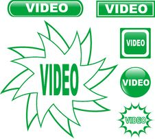 Free Button VIDEO Glossy Web Icons Set Stock Images - 19466554