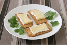 Free Toasts With Cheese Camembert Stock Photography - 19466582