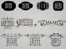 Calligraphic Elements For Restaurant And Cafe Menu Stock Photos