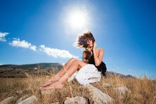 Free Curly Romantic Woman In The Mountains Stock Photos - 19468323