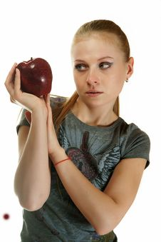 Free The Blonde With An Apple Royalty Free Stock Photos - 19468528