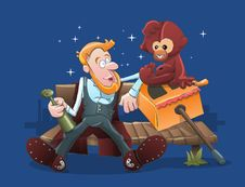 Organ Grinder And Monkey Stock Image
