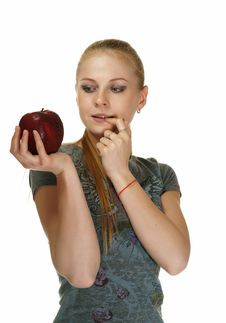 Free The Blonde With An Apple Royalty Free Stock Photography - 19468537
