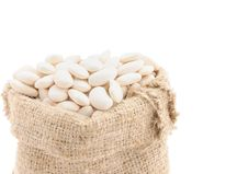 Seeds Of Beans In A Bag. Stock Photo