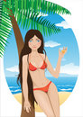 Free Young Girl On The Beach With A Drink Stock Images - 19471304