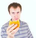 Free The Young Man Eats A Hamburger Stock Images - 19473934