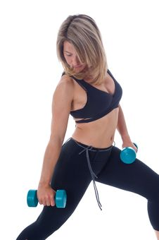 Free Woman Doing Exercises With Dumbels Stock Image - 19470011