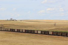 Coal Train On A Prairie Stock Image