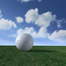 Free Golf Ball On Fairway With Fluffy Clouds Skyline Stock Image - 19470841