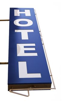 Free Blue Hotel Sign In A White Background Stock Images - 19471354