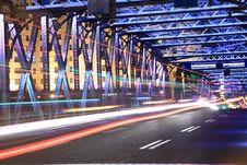 Free Shanghai Old Garden Bridge Car Light Trails Stock Photo - 19471850