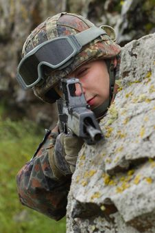 Soldier Targeting With Automatic Rifle Stock Images