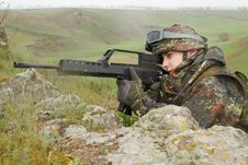 Soldier Targeting With Automatic Rifle Royalty Free Stock Images