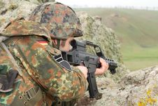 Free German Soldier Targeting From Covered Position Royalty Free Stock Images - 19472449