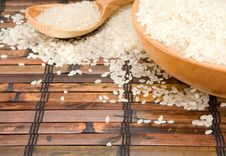 Free Rice And Wood Plate With Spoon Royalty Free Stock Image - 19472896