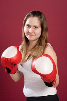 Free Portrait Of Girl In Boxing Gloves Stock Photos - 19474453