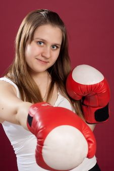 Free Portrait Of Girl In Boxing Gloves Royalty Free Stock Image - 19474456