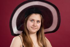 Portrait Of Girl In  Hat  Isolated Royalty Free Stock Photos