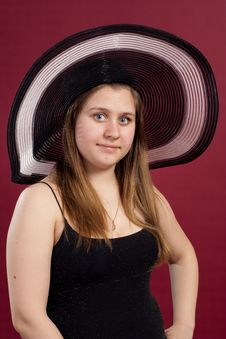 Portrait Of Girl In Dress And  Hat  Isolated Stock Images