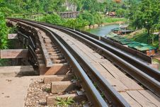Railway Beside Mountain Stock Photo
