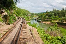 Railway Beside Mountain Stock Image