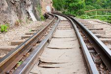 Railway Beside Mountain Royalty Free Stock Photos