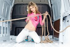 Free Sexy Young Woman In Cargo Van Stock Photos - 19475113